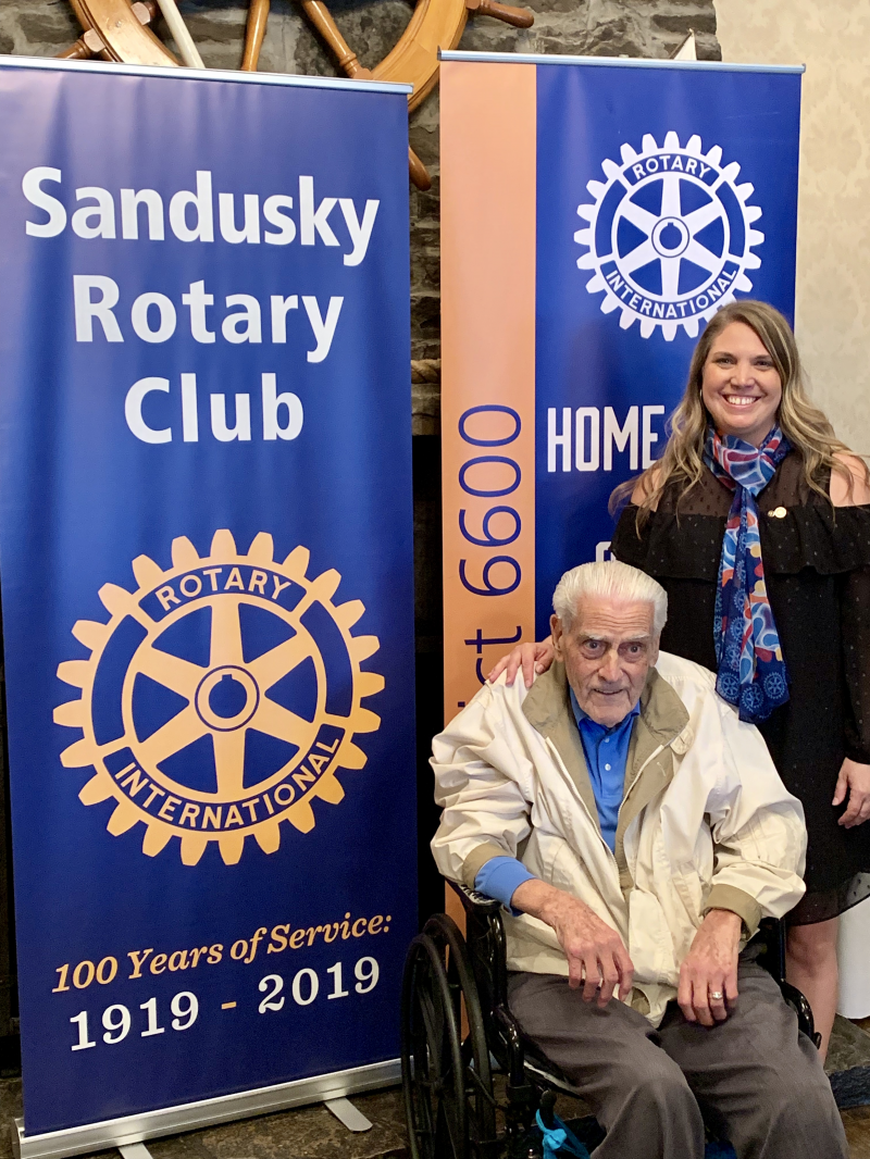 Eldest and Newest Sandusky Rotary Presidents- Frank Hafner and Lisa Wilson